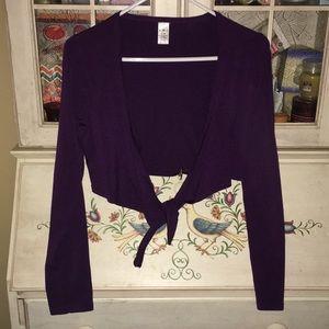 Mixit purple shrug sweater Sz s/m. Tie front VGUC